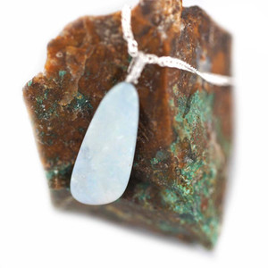 COTTON CANDY STERLING SILVER NATURAL AUSTRALIAN WHITE OPAL NECKLACE
