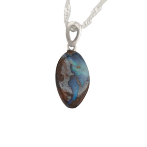 DEEP RIVER ENCHANTMENT STERLING SILVER NATURAL AUSTRALIAN SOLID BOULDER OPAL NECKLACE
