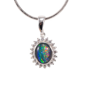 ELECTRIC ADVENTURE STERLING SILVER AUSTRALIAN BLACK OPAL NECKLACE