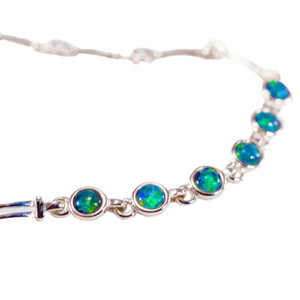 ENCHANTED GARDEN 6 TIER STERLING SILVER GENUINE AUSTRALIAN OPAL BRACELET