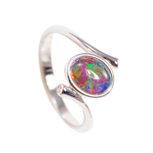 ALLURING MAGESTY STERLING SILVER AUSTRALIAN BLACK OPAL RING