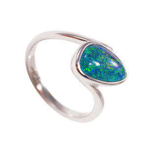 ENCHANTED LAND STERLING SILVER AUSTRALIAN BLACK OPAL RING