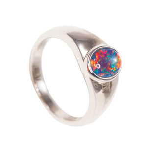 DEEP LOVE STERLING SILVER AUSTRALIAN BLACK OPAL RING