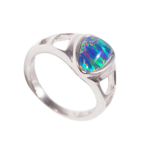 1 BRILLIANT MAGESTY STERLING SILVER AUSTRALIAN BLACK OPAL RING