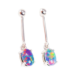 BLISSFUL PASSION STERLING SILVER GENUINE AUSTRALIAN OPAL DROP EARRINGS