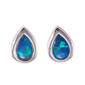 KAELIN MAJESTY FLASH STERLING SILVER GENUINE AUSTRALIAN OPAL STUD EARRINGS