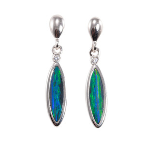 COLORADO RIVER STERLING SILVER AUSTRALIAN OPAL DROP EARRINGS