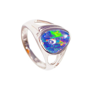 ELECTRIC POP FANTASY STERLING SILVER AUSTRALIAN BLACK OPAL RING