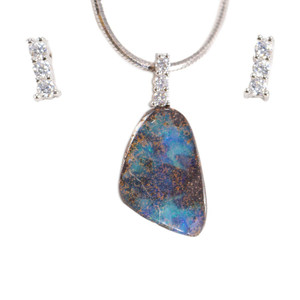 DELICATE ANGEL STERLING SILVER NATURAL AUSTRALIAN SOLID BOULDER OPAL NECKLACE