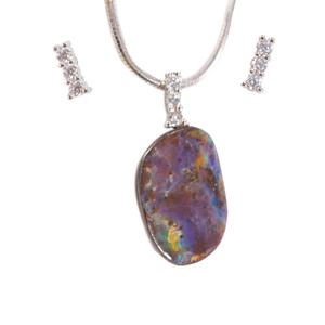 BLISS HIGHWAY STERLING SILVER NATURAL AUSTRALIAN SOLID BOULDER OPAL NECKLACE