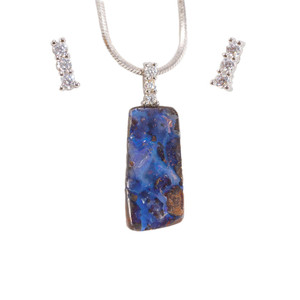 COASTAL HIGHWAY STERLING SILVER NATURAL AUSTRALIAN SOLID BOULDER OPAL NECKLACE