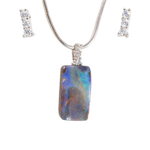 ATLANTIC ORBIT HIGH STERLING SILVER NATURAL AUSTRALIAN SOLID BOULDER OPAL NECKLACE