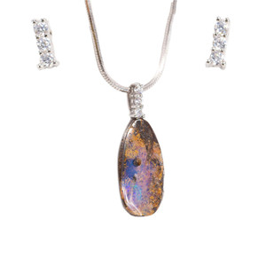 WELLNESS MAGESTY STERLING SILVER NATURAL AUSTRALIAN SOLID BOULDER OPAL NECKLACE
