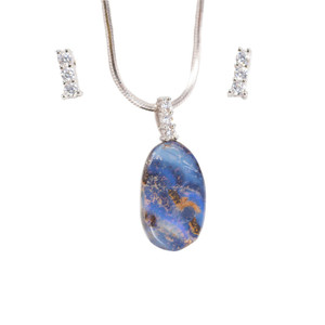 FLY BIRD STERLING SILVER NATURAL AUSTRALIAN SOLID BOULDER OPAL NECKLACE