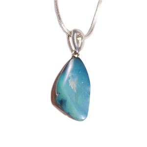 OPAL MOUNTAIN STERLING SILVER NATURAL AUSTRALIAN SOLID BOULDER OPAL NECKLACE