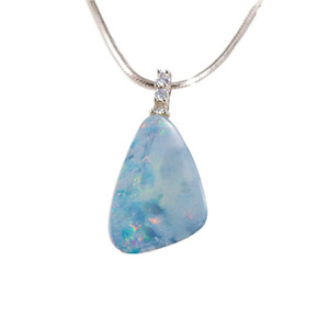 CRYSTAL CLOUD STERLING SILVER AUSTRALIAN WHITE OPAL NECKLACE