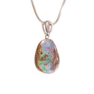 GREAT MOUNTAIN STERLING SILVER NATURAL AUSTRALIAN SOLID BOULDER OPAL NECKLACE