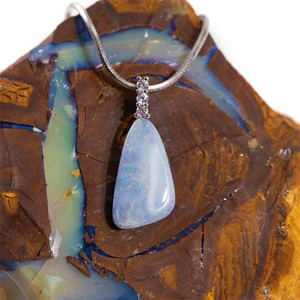HIGH HOPES STERLING SILVER AUSTRALIAN WHITE OPAL NECKLACE