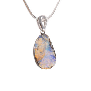 UNDERWATER WORLD STERLING SILVER NATURAL AUSTRALIAN SOLID BOULDER OPAL NECKLACE