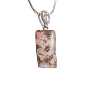WONDEROUS JOURNEY STERLING SILVER NATURAL AUSTRALIAN SOLID BOULDER OPAL NECKLACE