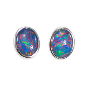 BRIGHT VIBRATION STERLING SILVER AUSTRALIAN BLACK OPAL STUD EARRINGS