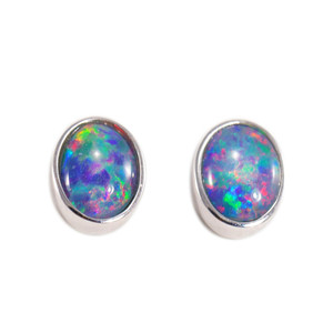 BRIGHT BEAM STERLING SILVER AUSTRALIAN NATURAL BLACK OPAL STUD EARRINGS