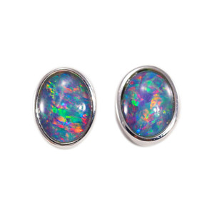 BRIGHT LIGHT DELIGHT 18KT GOLD PLATED NATURAL BLACK OPAL AUSTRALIAN OPAL STUD EARRINGS