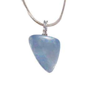CLOUD CRYSTALS STRUCK STERLING SILVER AUSTRALIAN WHITE OPAL NECKLACE