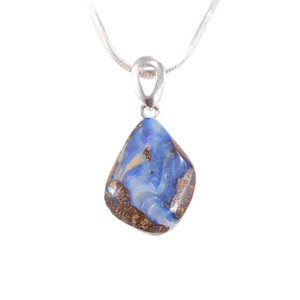 ROYAL MOUNTAIN STERLING SILVER NATURAL AUSTRALIAN SOLID BOULDER OPAL NECKLACE