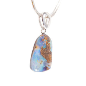 MAJESTIC MOUNTAIN RANGE STERLING SILVER NATURAL AUSTRALIAN SOLID BOULDER OPAL NECKLACE