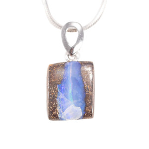 WONDERLAND FOREST STERLING SILVER NATURAL AUSTRALIAN SOLID BOULDER OPAL NECKLACE