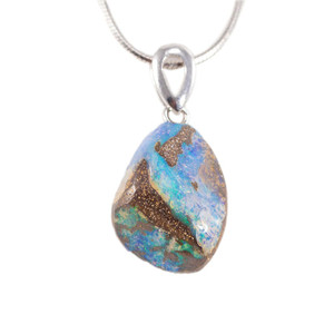ABUNDANT MAJESTY STERLING SILVER NATURAL AUSTRALIAN SOLID BOULDER OPAL NECKLACE