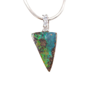ELECTRIC TRIANGLE STERLING SILVER NATURAL AUSTRALIAN SOLID BOULDER OPAL NECKLACE