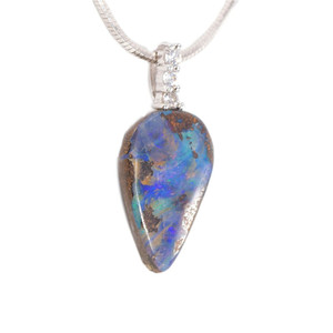 1 MAGESTIC PALACE STERLING SILVER NATURAL AUSTRALIAN SOLID BOULDER OPAL NECKLACE