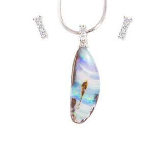 DESTINY'S DREAM STERLING SILVER NATURAL AUSTRALIAN SOLID BOULDER OPAL NECKLACE & EARRING SET