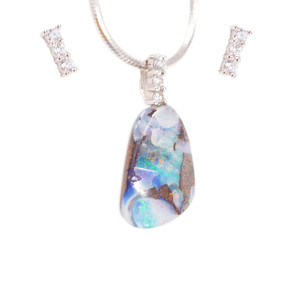ADVENTURE LAND STERLING SILVER NATURAL AUSTRALIAN SOLID BOULDER OPAL NECKLACE & EARRING SET