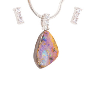 EARTH'S MAGESTY STERLING SILVER NATURAL AUSTRALIAN SOLID BOULDER OPAL NECKLACE & EARRING SET