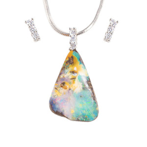 DEEP MAGIC STERLING SILVER NATURAL AUSTRALIAN SOLID BOULDER OPAL NECKLACE & EARRING SET