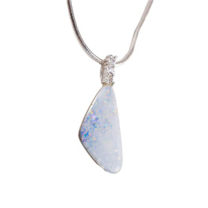 CONFETTI PENGOT CLOUDS STERLING SILVER AUSTRALIAN WHITE OPAL NECKLACE
