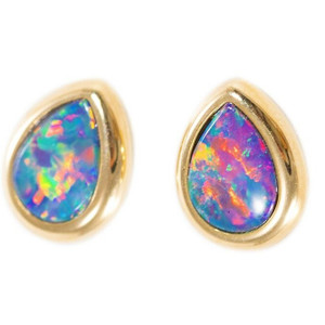ELECTRIC RAINBOW POP 14KT GOLD AUSTRALIAN BLACK OPAL STUD EARRINGS
