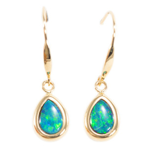 PLANET EARTH'S PERFECTION 14KT YELLOW GOLD AUSTRALIAN OPAL DROP EARRINGS