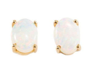 ELECTRIC RAINBOW POWDER 14KT WHITE GOLD AUSTRALIAN WHITE OPAL STUD EARRINGS (CUSTOM ORDER)
