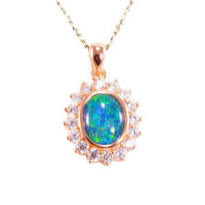 OCEAN FLASH DANCE 18KT ROSE GOLD PLATED AUSTRALIAN BLACK OPAL NECKLACE