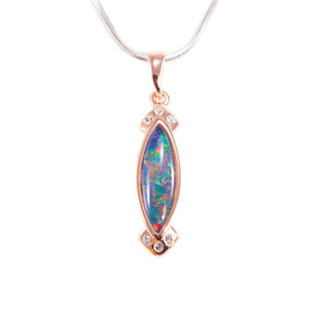 MAGICAL BRIGHT NIGHT 18KT ROSE GOLD PLATED AUSTRALIAN BLACK OPAL NECKLACE