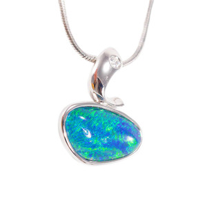 1 JEAN THERESA  18KT STERLING SILVER AUSTRALIAN BLACK OPAL NECKLACE