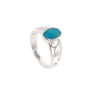 NATURES HARMONY STERLING SILVER AUSTRALIAN BLACK OPAL RING