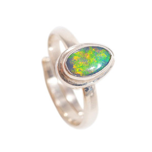 ELECTRIC GREEN GARDEN STERLING SILVER AUSTRALIAN BLACK OPAL RING