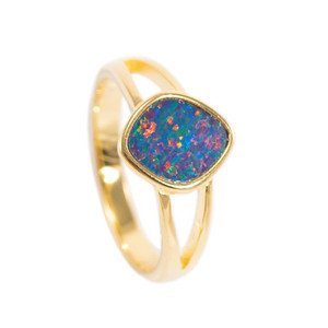 ELECTRIC POP 18KT GOLD PLATED AUSTRALIAN BLACK OPAL RING