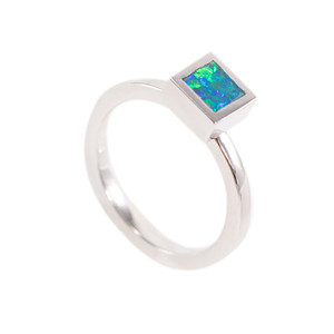 NATURES HOLIDAY MAGIC STERLING SILVER AUSTRALIAN BLACK OPAL RING
