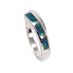ONE PLANET STERLING SILVER AUSTRALIAN BLACK OPAL RING
